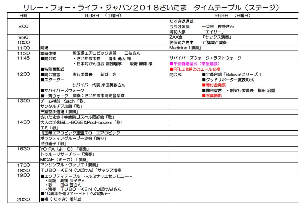 2018ステージ・タイムスケジュール