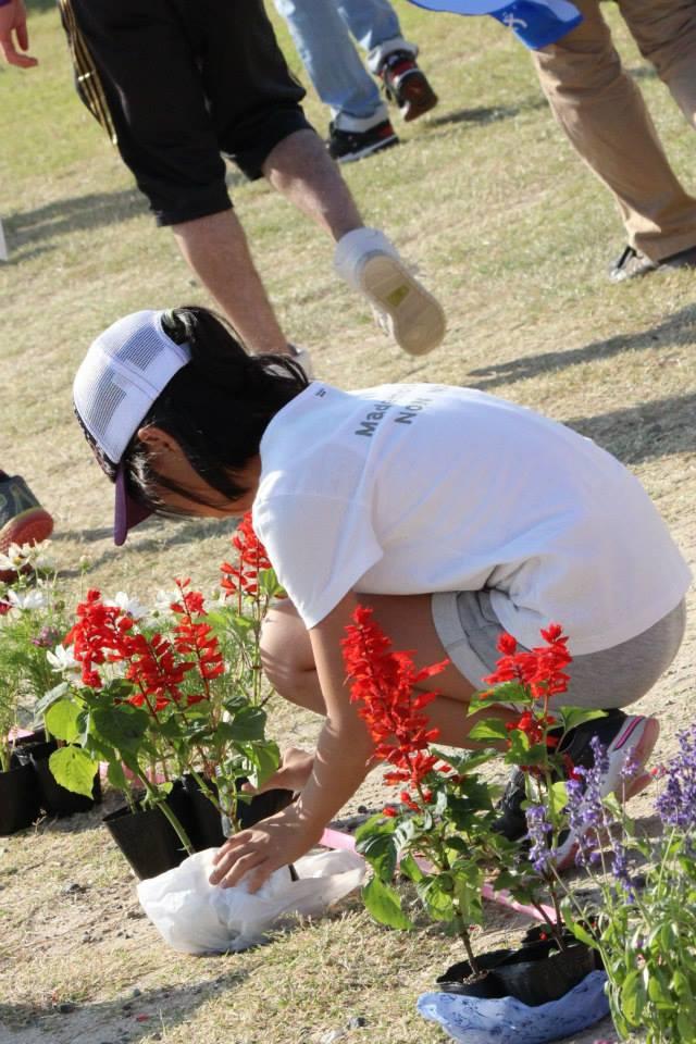 学生ボランティアの花